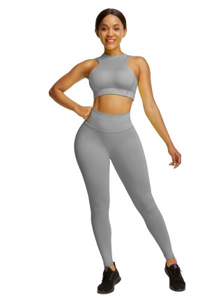 Gray High Waist Yogawear Set Crop Sleeveless Athletic Comfort