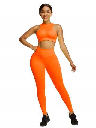 Stretchable Orange Cropped Sleeveless Back Zip Yoga Suit For Women