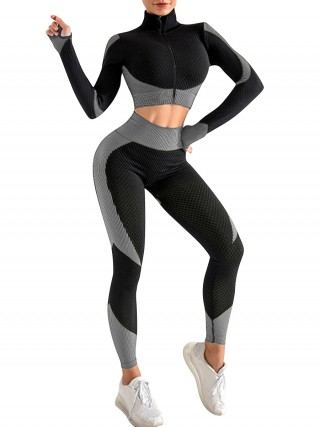 Gray Colorblock Zipper Yoga Suit Cropped With Stylish Design