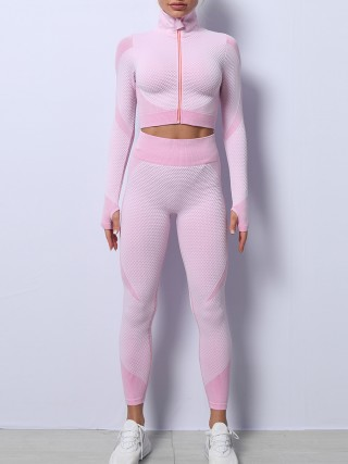 Light Pink High Waist Yoga Suit Colorblock With Thumbhole Slim Fit