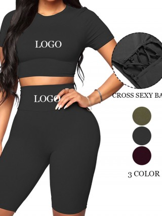 Flattering Black Solid Color Sweat Suit High Rise Women's Apparel