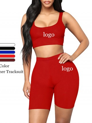 Breathable Red Sleeveless Top High Rise Sports Shorts Feminine