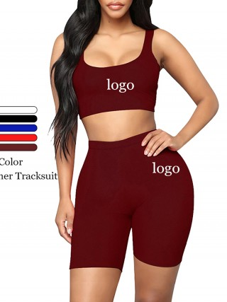 Splendor Wine Red Crop Sweat Suit Sleeves Solid Color Female