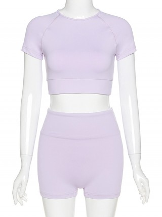 Inspired Purple Short Sleeves Yoga Suit Crop Plain Women's Clothing