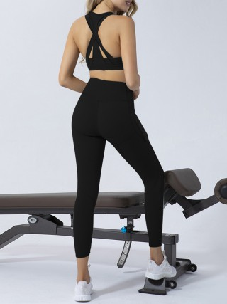 Bright Black Backless Yoga Legging Suit With Pocket Feminine Grace