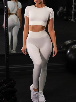 Refreshing Creamy-White Ankle Length Yoga Legging Seamless Top