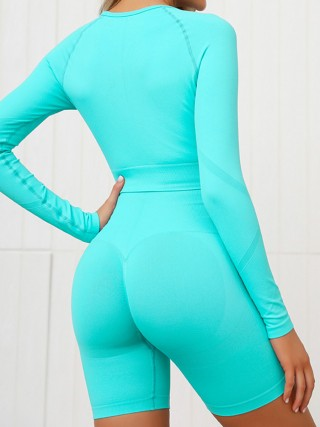 Sparkling Light Green High Waist Shorts Seamless Sports Suit