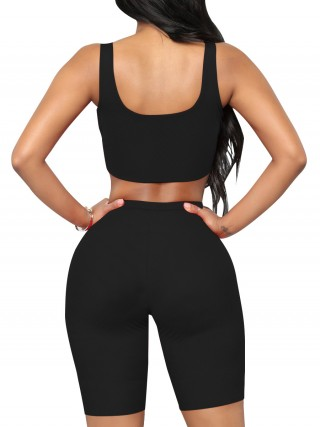 Brilliant Black Scoop Neck Sports Suit High-Waist Best Design