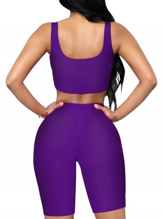 Slim Legs Purple Solid Color Cropped Sports Two-Piece Tight