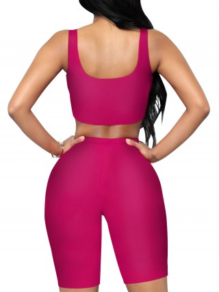 Sophisticated Rose Red Yoga Top Crop High Waist Shorts Suit
