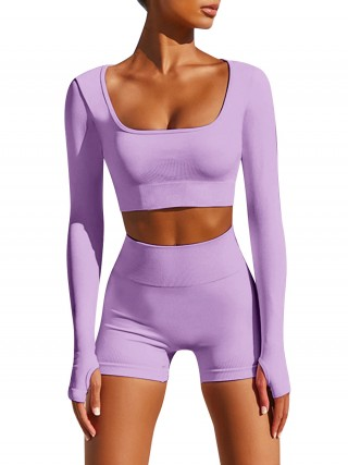 Vivid Purple Square Neck Yoga Top And Shorts Set Running Apparel