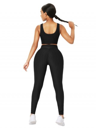 Black Sleeveless Drawstring Jacquard Yoga Suit For Work