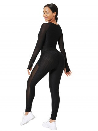 Black Mesh Splice Yogawear With Thumb Holes Stretchy Fabric