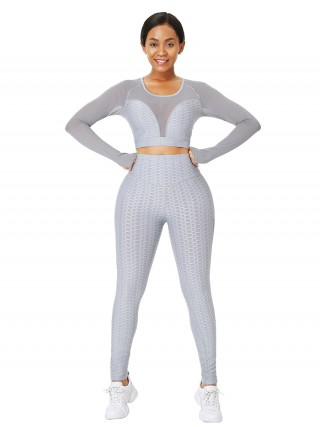 Gray Full-Length Jacquard Mesh Yoga Suit Sweat Absorption