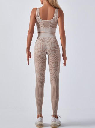 Khaki Seamless Snakeskin Yoga Suit High Waist Stretchy Fabric
