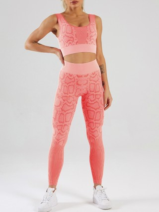 Pink Snakeskin Print Seamless Yoga Two-Piece Outfits Moisture Wicking