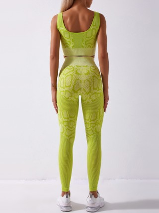 Light Yellow Full Length Seamless Snakeskin Print Yoga Suit Outfit Online