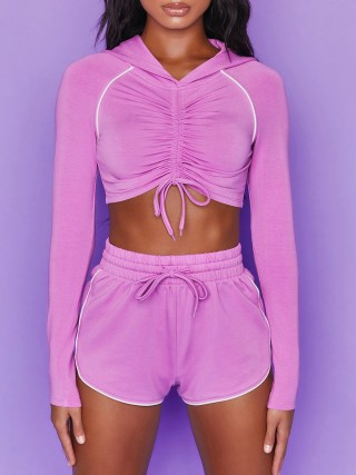High Waist Athletic Suit Purple Long Sleeve Exercise Outfit