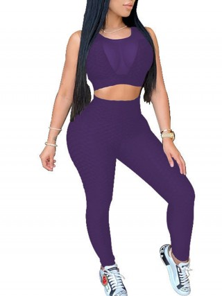 Sweat Suit Purple Large Size Round Collar Eye Catcher