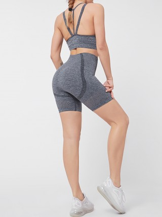 High Waist Yoga Suit Gray Open Back Fashionable Design