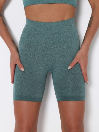 Green Knit High Waist Seamless Sports Shorts Women Fashion Style