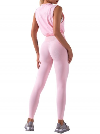 Pink Sleeveless Pleated Sweat Suit Crew Neck Fabulous Fit
