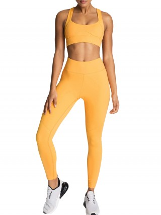 Orange Yoga Suit Strap Solid Color Cut Out Slim Fit