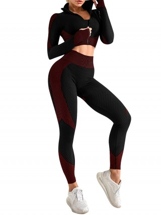 Knit Sports Bra Zipper Jacket And Leggings Red Weekend Time