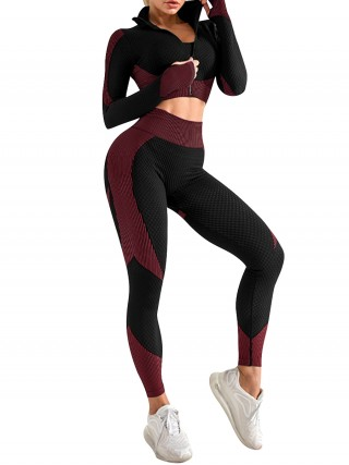 Seamless Fuchsia Running Suit 3-Piece U-Neck For Running Girl