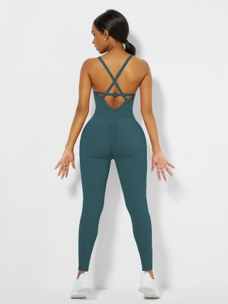Blue Cross Back Pleated Sling Athletic Jumpsuit For Fitness