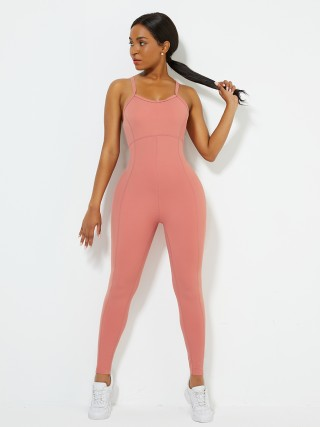 Orange Sports Jumpsuit Solid Color Full Length For Runner