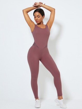 Purplish Red Hollow Out Hip Wrinkle Yoga Jumpsuit Fabulous Fit