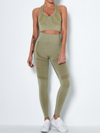 Army Green High Waist Seamless Hollow Yogawear Suit Elasticated