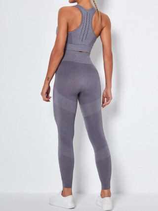 Gray Ankle-Length Removable Pads Yoga Suit Cool Fashion