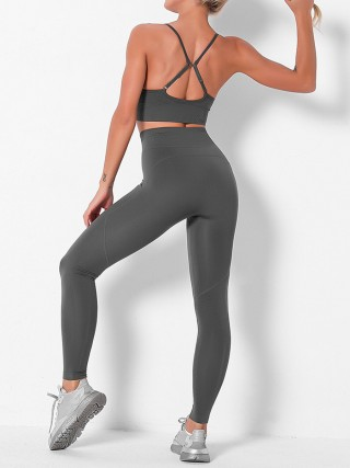 Deep Gray Adjustable Straps Seamless Yogawear Suit Moisture Wicking