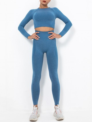 Dark Blue Sweat Suit Crew Neck High Waist Good Elasticity