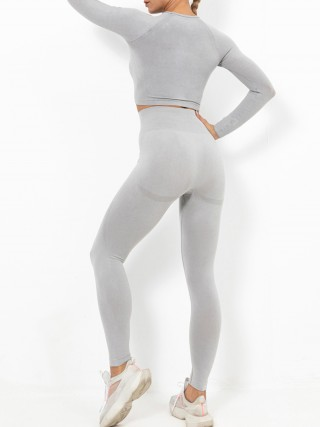Light Pink Wide Waistband Full Sleeve Athletic Suit Workout Activewear