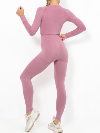 Dark Pink Raglan Sleeve Full Length Athletic Suit For Workout
