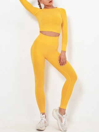 Yellow Sweat Suit Seamless Knit Ankle Length For Traveling
