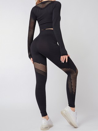 Black Thumb Holes Knit Yoga Suit Round Neck Aerobic Activities