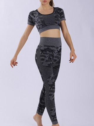 Black Camouflage Print Short Sleeves Yoga Suit Exercise