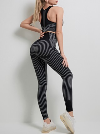 Black Seamless Stripe Print Yoga Suit High Rise Ankle-length