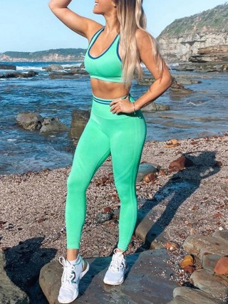 Green Seamless Racerback Sports Suit High Waist Sweat Absorption