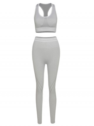 Gray High Waist Seamless Racerback Yoga Suit Fashion Ideas