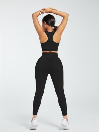 Black Racerback High Waist Pockets Sports Suit Fitness