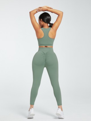 Green Deep-V Ankle Length Gym Leggings And Top Set Workout Activewear