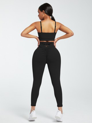 Black Adjustable Straps High Waist Athletic Suit For Hanging Out
