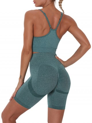 Green Running Suit Seamless Solid Color Strap Fashion Insider