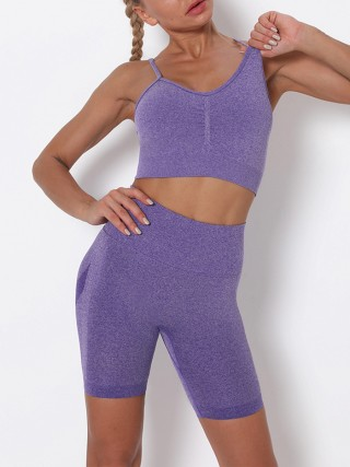 Purple Sling Cropped Bra Thigh Length Leggings For Running Girl