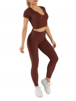 Coffee Short Sleeve Crop Tops And Seamless Leggings Comfort Fit